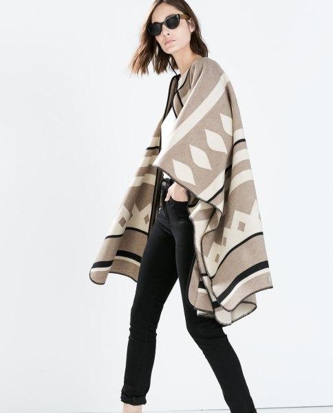 пальто накидка zara